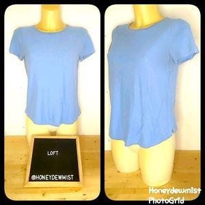 LOFT Solid Blue Short Sleeve Tee Shirt
